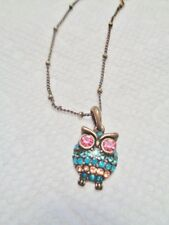 "Owl Necklace VTG Gold Bronze Tone SM Pink & Blue Rhinestone Pendant 16-18"" chain"