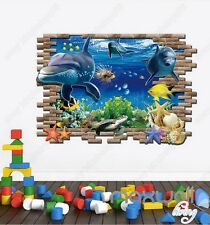 Dophin Turtle Fish Under the Sea 3D Removable Wall Decals Bathroom Sticker Kids