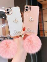 For iPhone 12 11 Pro MAX XR 7 8 Plus Case Glitter Shockproof Pompom Hybrid Cover