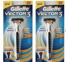 2 Gillette Vector 3 Razor Handle for Sensor Sensor Excel 2 Cartridges Free Ship