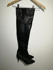 Primark Uk 5 Black Faux Leather Over The Knee Boots NWOT Pretty Woman Style