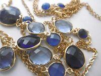 vergoldete Kette Iolith,  Blau Quartze,Calcedon,Lapiz Lazuli