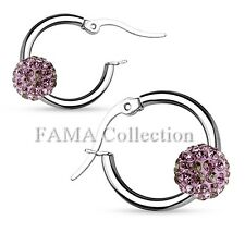 Stunning FAMA Swarovski Crystal Ball Stainless Steel Hoop Earrings Select Colour