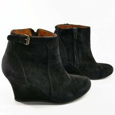 Lanvin Wedge Heel Ankle Boots Black Bootie Suede Size 6 Bottine Compensee Paris