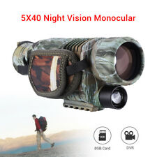 5* 40mm Night Vision Cam Goggles Monocular IR Surveillance Gen Hunting Scope+8GB