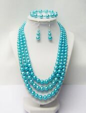3 Strands Turquoise Glass Pearl Necklace/Bracelet /Earrings w/Fish Hook or Clip