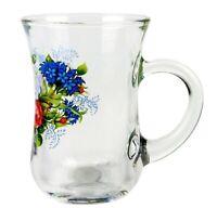 Turkish Tea Cup, Glass Teacup, Floral Print Flowers High Quality