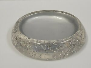 """Nicole Miller Clear Acrylic w/ Silver Flakes Oval Soap Dish 5""""x4-1/4"""""""