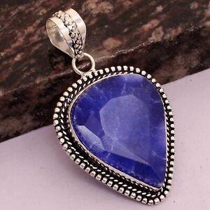 "Blue Sapphire Ethnic Handmade Pendant Jewelry 1.8"" AP 37846"