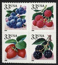 #3297e 33c Fruit Berries, Se-Tenant Block, Mint **ANY 4=FREE SHIPPING**