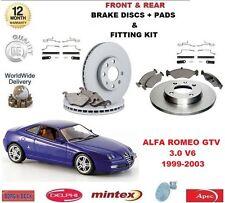 PER ALFA ROMEO GTV 99-03 3.0 ANT + POST DISCHI FRENO SET + KIT PASTIGLIE DISCO