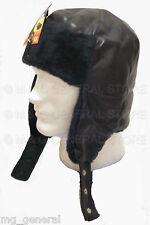 Black Faux Leather Bomber Aviator Russian Winter Earflap Hat Trapper Trooper