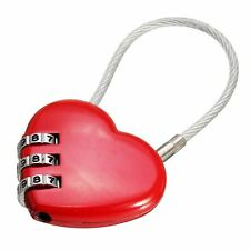 Heart Password Lock Wire Rope Resettable Combination Digital Travel Bags Padlock