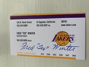 Fred Tex Winter Signed AUTO business card HOF Triangle Lakers Kobe Bryant Bulls