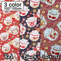 Japanese Lucky Cat Fabric Kawaii Maneki Neko Cartoon Soft Kimono tablecloth DIY
