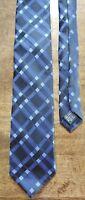 Haggar Black Blue Checkered Classic Polyester Men's Tie / Necktie