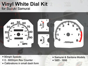 Suzuki Samurai / SJ / Santana (1985 - 1998) Dash - 90mph - Vinyl White Dial Kit