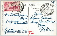59487 -   GIBRALTAR  - POSTAL HISTORY:  POSTCARD to ITALY posted in SPAIN 1956