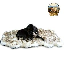 Premium Faux Fur Chubby Bear Skin Pelt Rug Pet Bed Mat Shag Brown Tip Carpet