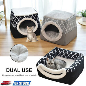 Pet Cat Dog Warm Sleeping Nest Bed Puppy Soft Cave House Closed Cat Room Mat UK