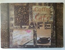 "COFFEE  COLLAGE - Kitchen Table protector Placemats - Foam  18""x13"" Set of 4"