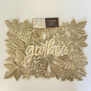 Gold Placemats Gather Thanksgiving Lasercut Cutout Vinyl Set of Four Leaves Fall