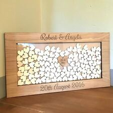 PERSONALISED WOODEN DROP BOX GUEST BOOK HEARTS WOODEN OAK RECTANGLE FRAME
