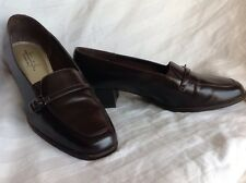 Ladies 8 Hush Puppies Soft Style Brown Pump with Buckle and Square Heel Slip On