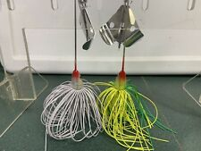 1/2 Ounce Clacker Buzz Baits White, Chartreuse/lime topwater. Bass, Pike