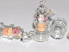 1 miniature dollhouse charm pendant tiny unicorn fairy dust rose cork Bottle NEW