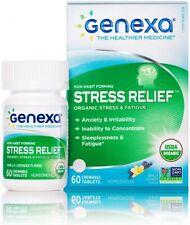 Genexa Homeopathic Stress & Anxiety Relief Chewable Tablets 60 count exp 11/20