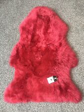 Genuine Real Sheepskin Rug in Red Raspberry Fluffy and Plush