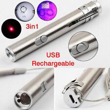 3 in1 Mini Flashlight USB Rechargeable LED Laser UV Torch Pen Light Lamp