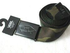 Vans Mens Shreadator II Camouflage Web Belt Logo Metal Buckle Green Black NWT