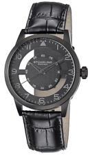 Stuhrling 650 04 Aviator Quartz Transparent Dial Leather Strap Black Mens Watch