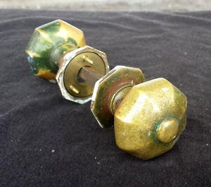 34avail Antique Vintage SOLID Cast Brass Door Knob Doorknob Handle Plate Rosette