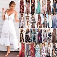 Ladys Boho Floral Strap Lace Maxi Flare Swing Dress Vintage Summer Slit Sundress