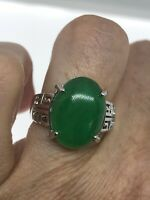 Vintage Green Jade Ring White Gold Finish Size 8