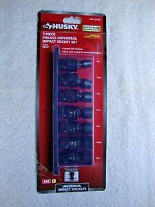 "Husky 7-Piece 3/8"" Pinless SAE Impact Socket Set 30 Degree Access 1004726967"