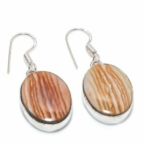 "Polygram Jasper Gemstone 925 Silver PlatedJewelry Earring 1.54""  rty53"