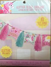 10ft UNICORN GLITTER TASSEL GARLAND BANNER BIRTHDAY PARTY DECORATIONS GIRLS NEW