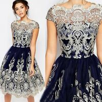 Womens Vintage Lace Floral Short Sleeve Evening Formal Cocktail Party Mini Dress