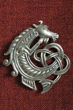 Celtic Horse Seahorse Brooch Endless Knotwork Irish SCA Medieval Pewter Pendant