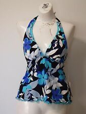 Women Swim Wear Tankini Top Caribbean Joe Size 10 Black Floral Halter Neck tie