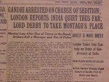 Vintage Newspaper Headline~Crime India Mohandas Gandhi Arrested For Sedition~