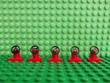 5 x Lego Mini Figure Vehicle Steering Wheel in Red & Black Ideal Spares Cars Van
