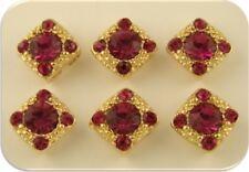 2 Hole Beads 8mm Fuchsia Stardust Crystal Gala Swarovski Elements GOLD QTY 6