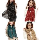 Fashion Women's Scarf Polka Dot Long Soft Silk Chiffon Scarves Wrap Shawl Stole