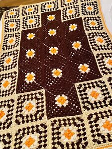 "Vintage Granny Square Hand Crocheted Knitted Afghan Blanket Orange Brown 60""x40"""