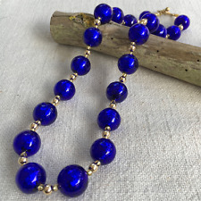DARK BLUE (COBALT) MURANO GLASS SPHERE BEAD (14mm) NECKLACE ON GOLD